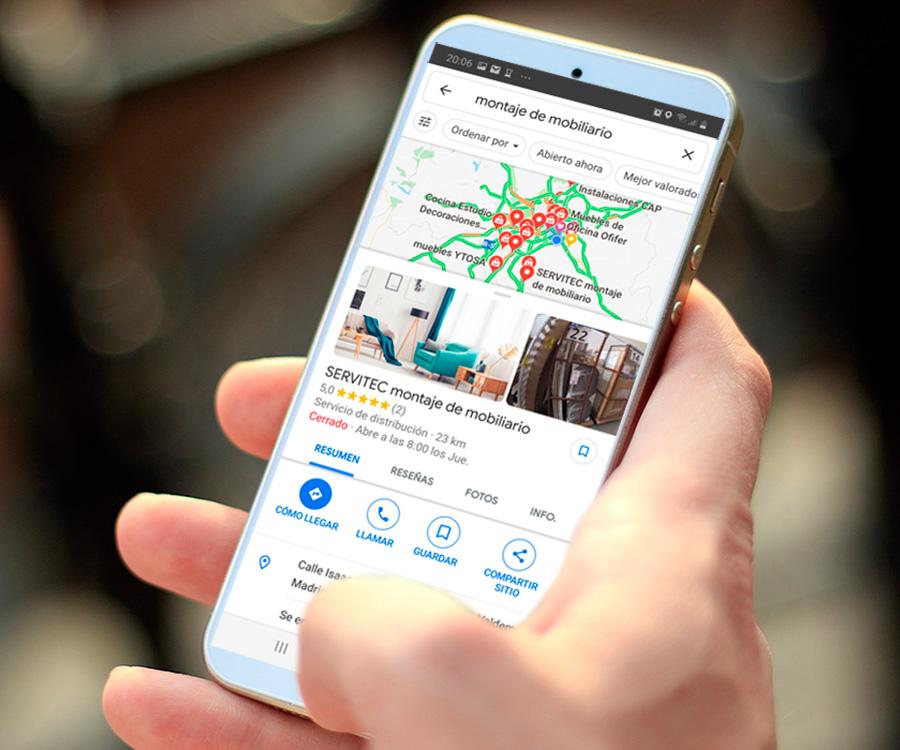 Posicionamiento en Google Maps para profesionales del mueble