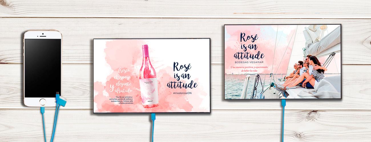 Publicidad en cargadores de vino rosé Vegamar