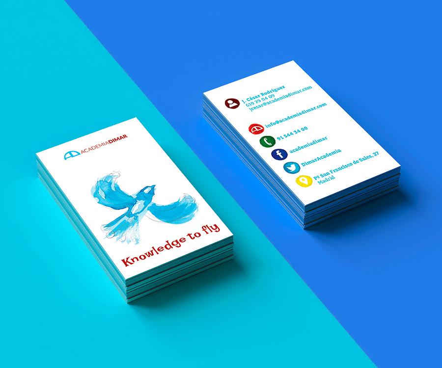 Diseño de tarjetas para Academias Dimar