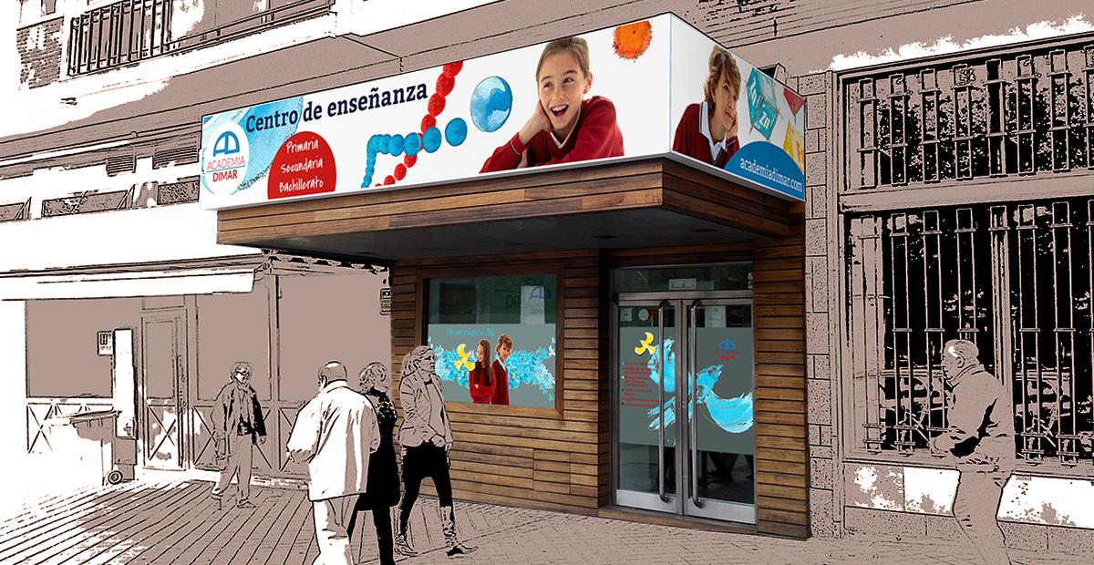 Diseño de fachada para centro de enseñanza Dimar en Madrid