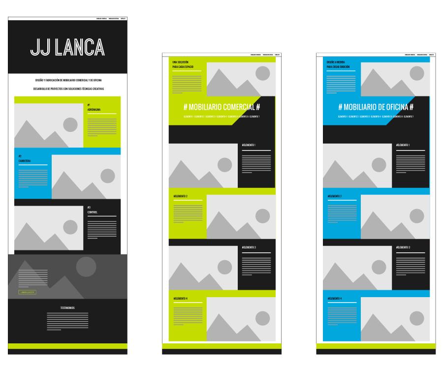Diseño de wireframe para la web de JJ LANCA