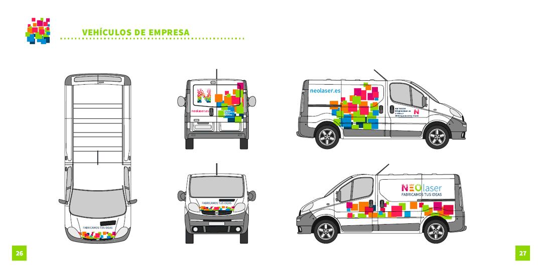 Diseño de aplicaciones de marca en vehículos de empresa